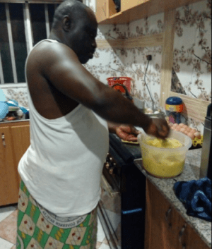 """"""" Your Wife Is Not Your Slave"""": Retired Nigerian Soldier Steals Hearts With This Photo"""